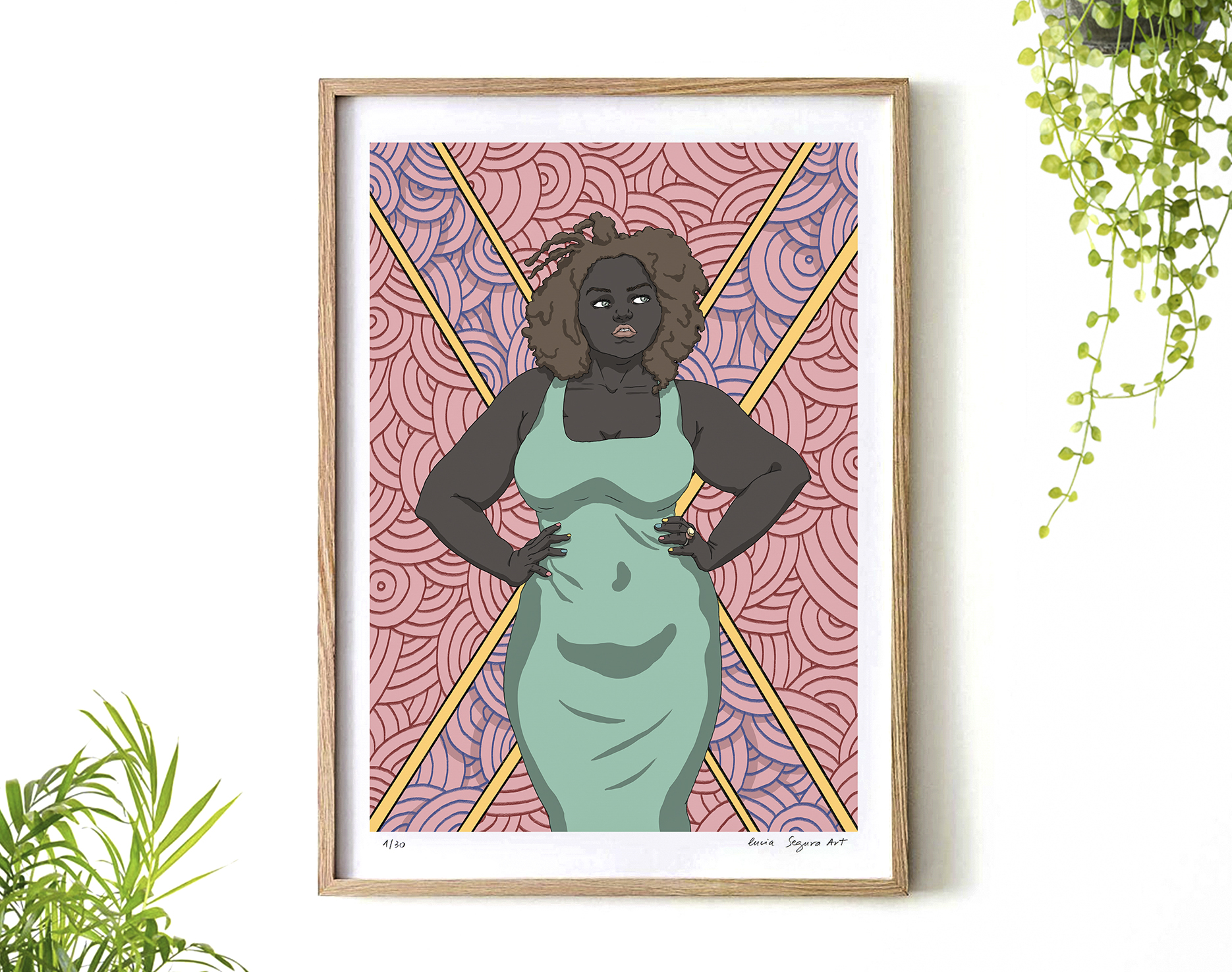 Artwork Here I am with a wood frame hanging on a wall surrounded by green plants. The digital painting is full of color and shows an empowered woman with a big size body but very stylish and confident. Lucia Segura Art.