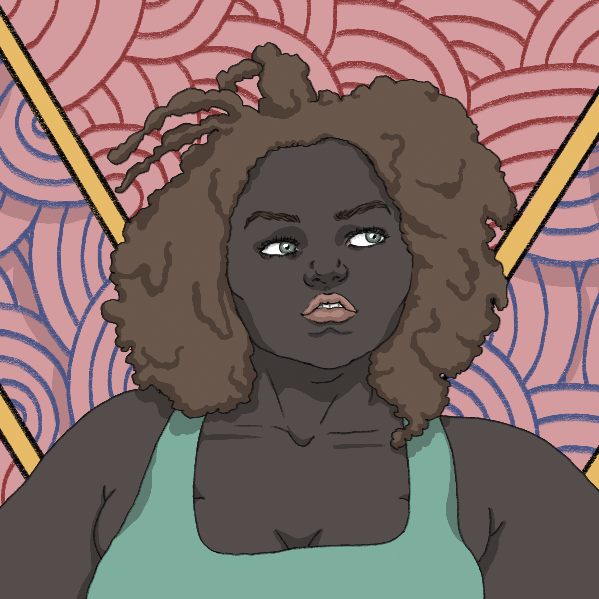 Illustration portrait detail of a black woman with dark curly hair and fat appearance.