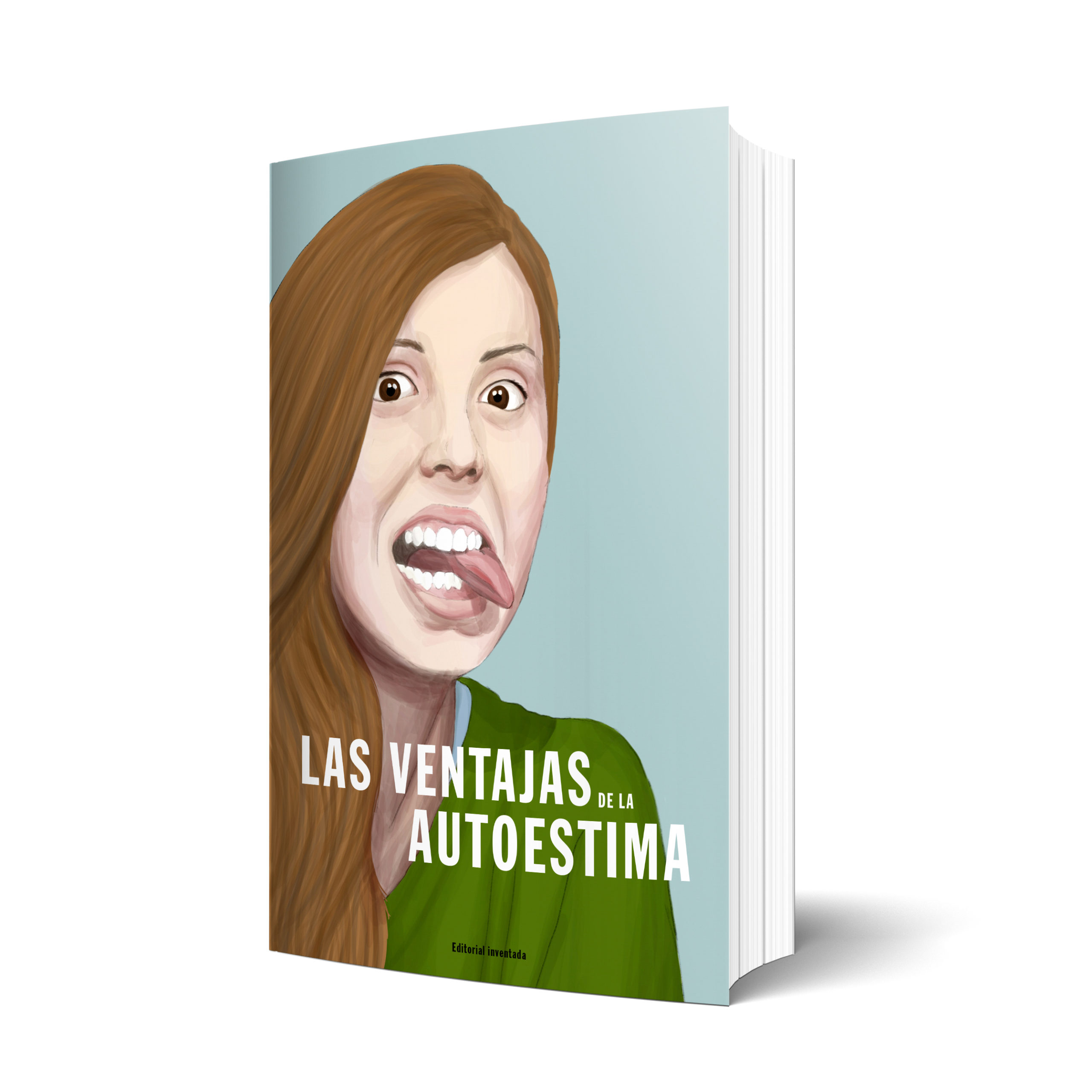 Book cover illustration of a young woman with her tongue outside. Digital illustration similar to watercolor, realistic. self-esteem.
